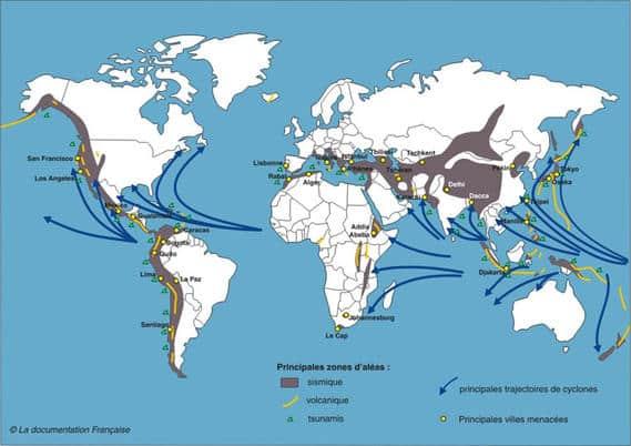 Carte des catastrophes naturelles dans le monde entre 2008 et 2012