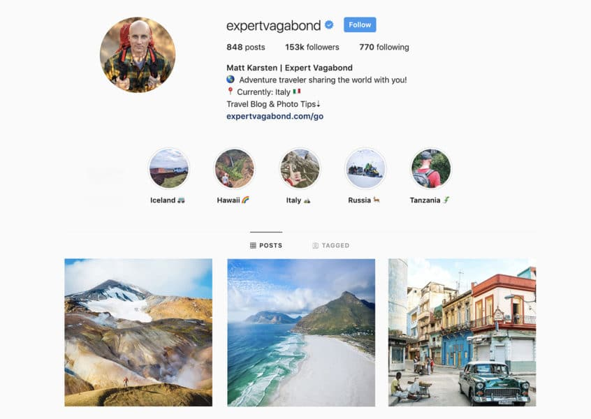 Mon compte Instagram,  @ExpertVagabond