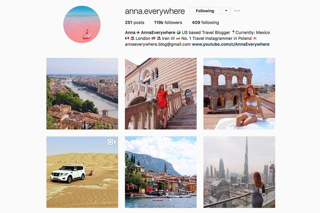 Compte Instagram de Anna