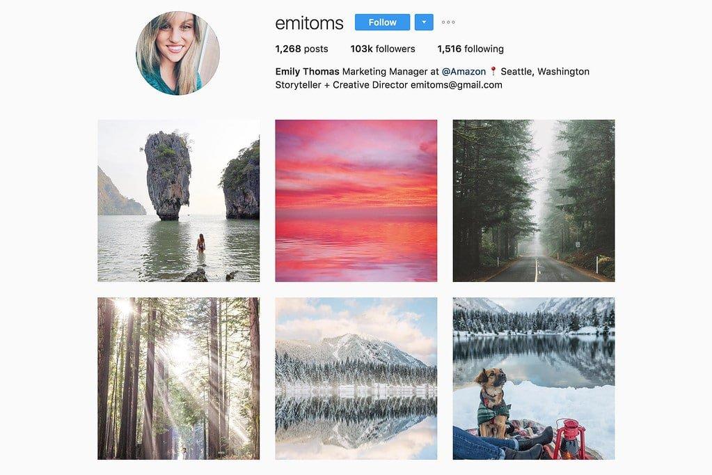 Compte Instagram de Emily