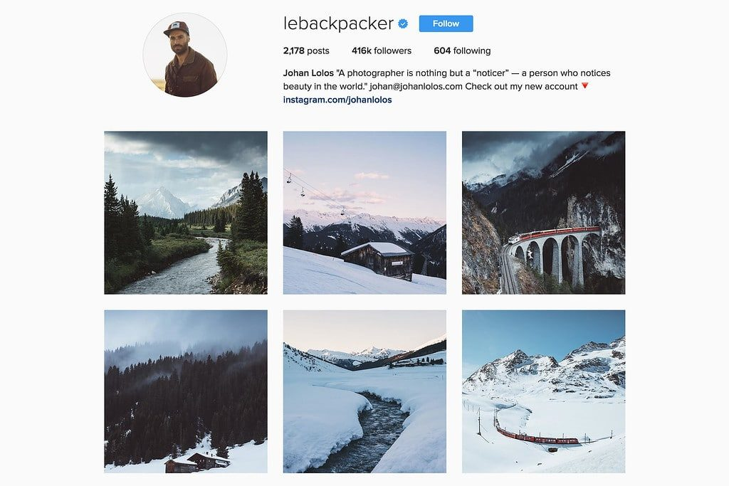 Compte Instagram de Johan