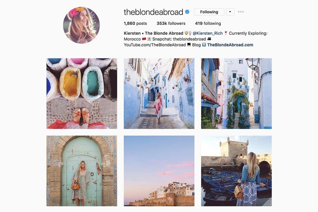 Compte Instagram de Kiersten